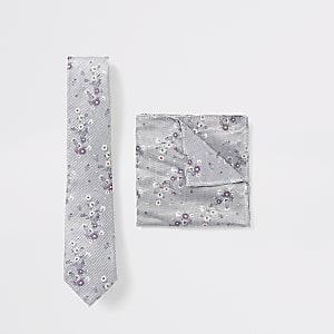 Set aus Krawatte und Einstecktuch in Grau mit Blumenmuster