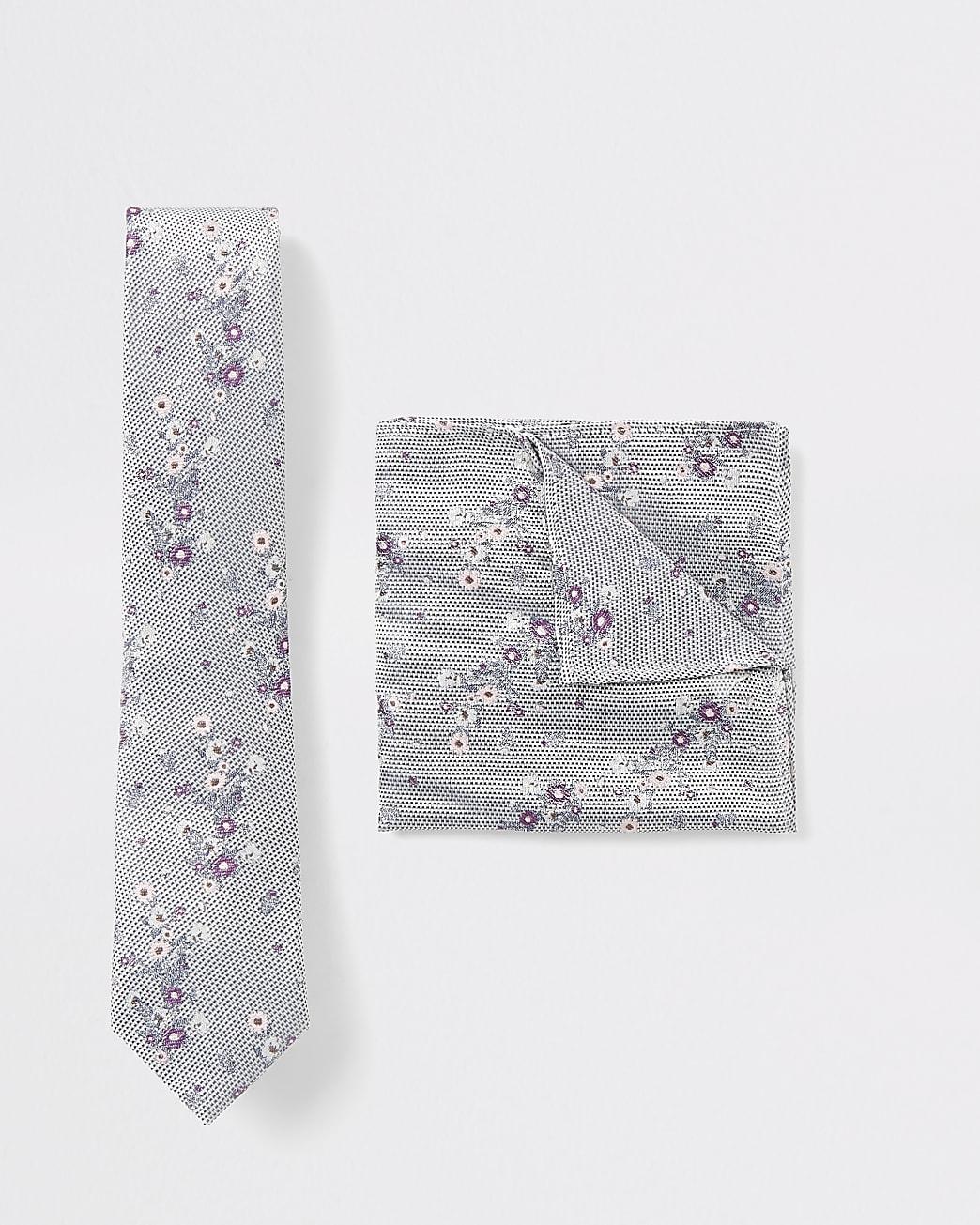 Grey floral print tie and handkerchief set