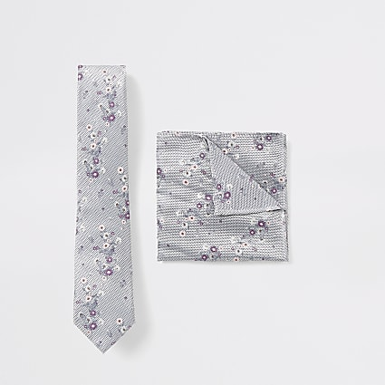Grey floral print tie and handkerchief set