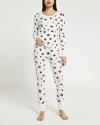 Grey floral pyjama leggings