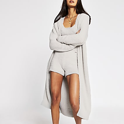 Grey fluffy long line cardigan