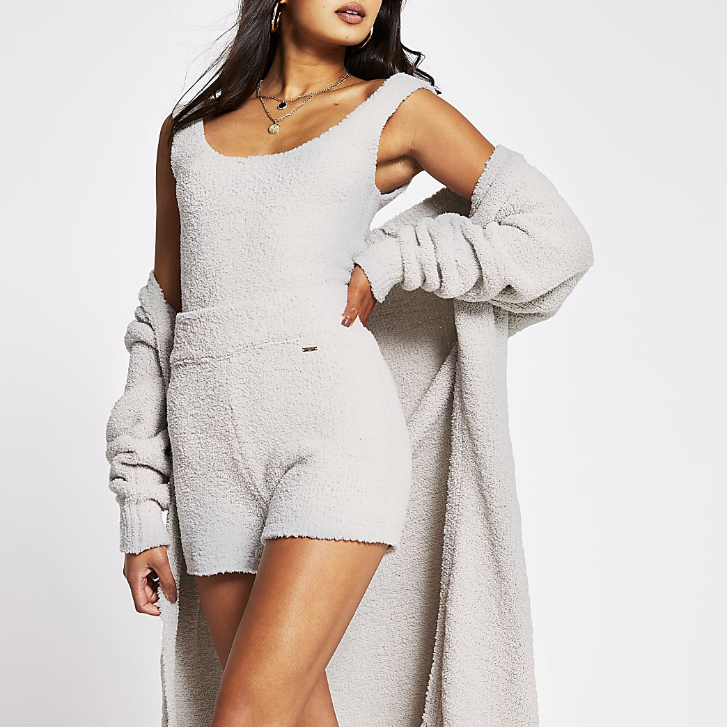 Grey fluffy RI shorts