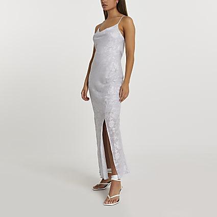 Grey foil jacquard cowl slip dress