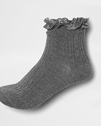 Grey frill cable knit socks