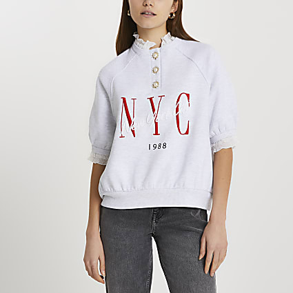 Grey frill collar NYC sweatshirt