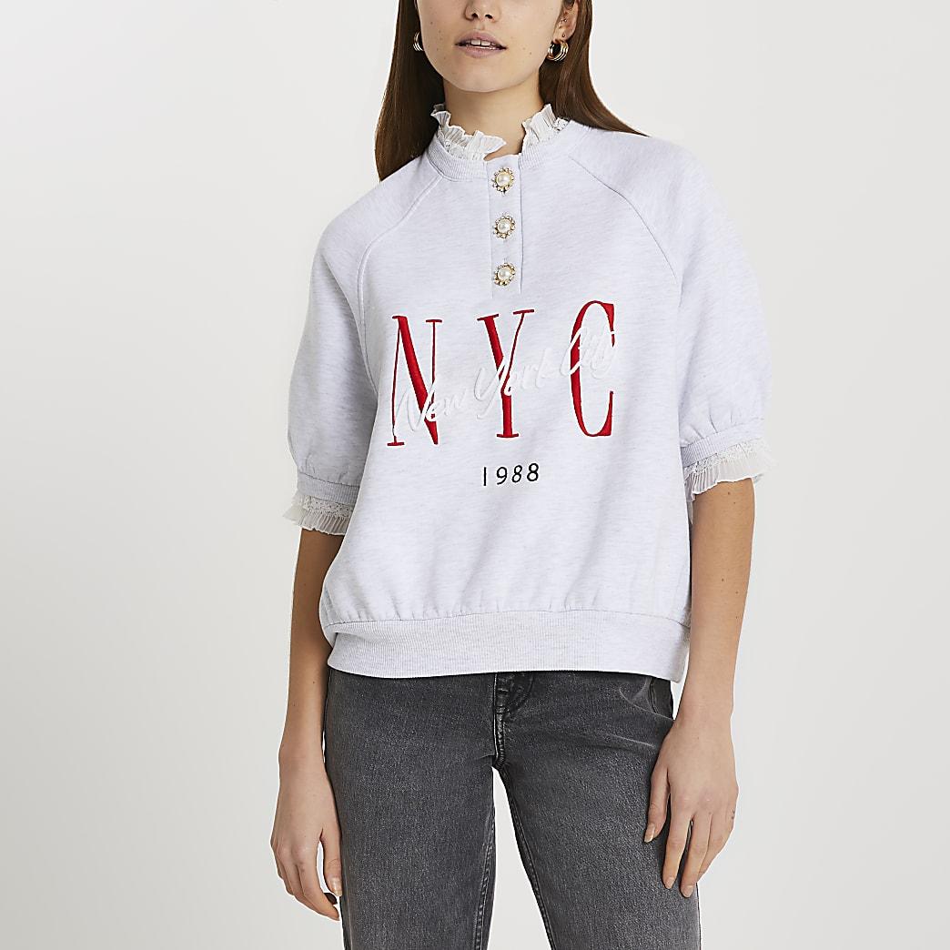Grey frill collar NYC sweatshirt