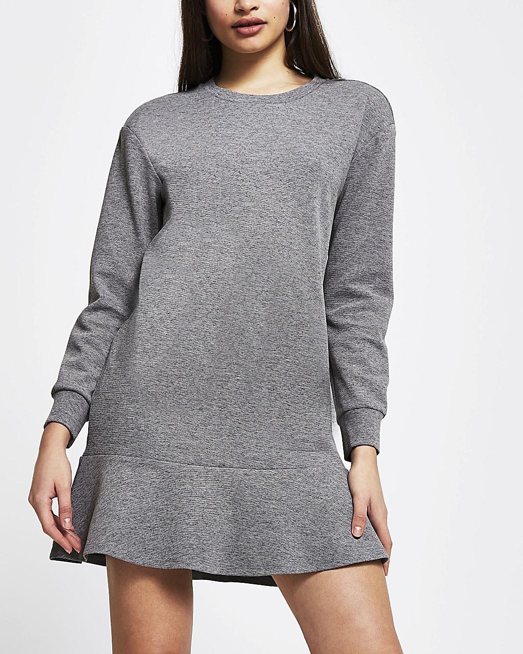 Grey frill hem long sleeve mini sweater dress