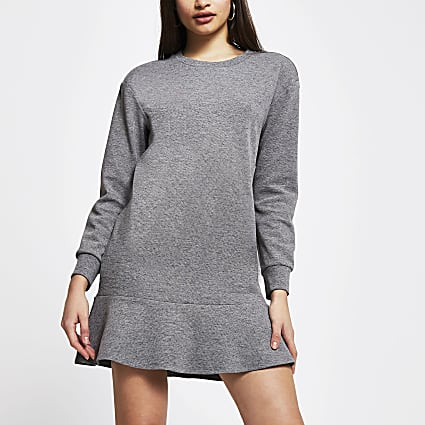 Grey frill hem long sleeve mini sweater dress