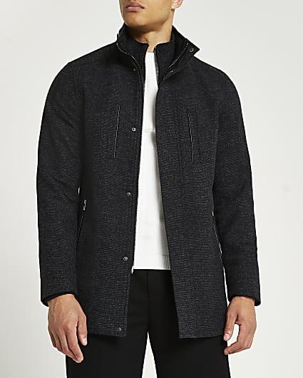 Grey funnel neck multi pocket coat