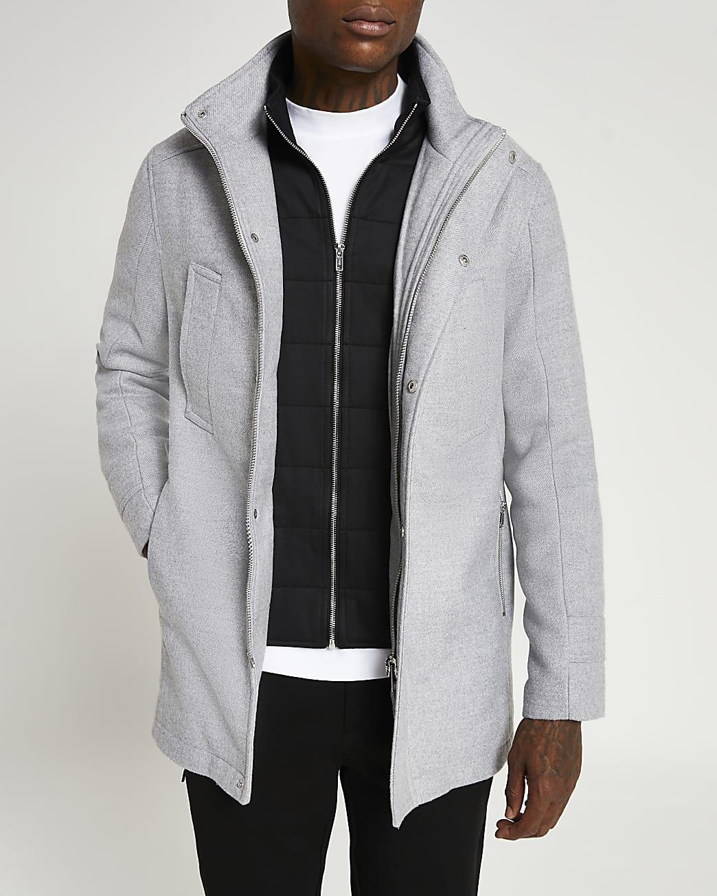 Grey funnel neck wool coat