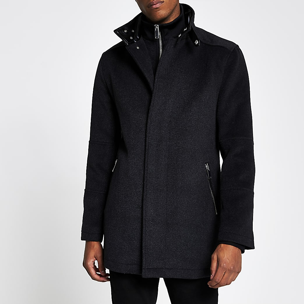 Grey funnel neck wool coat