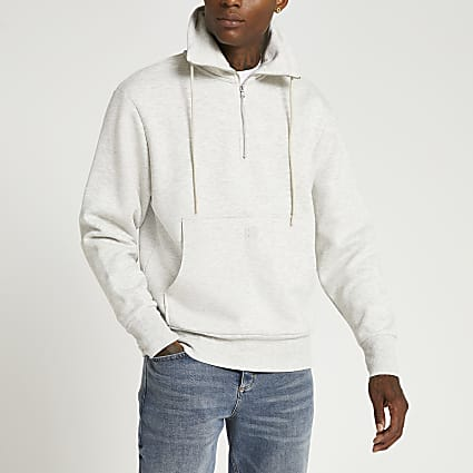 Grey funnel neck zip sweatshirt