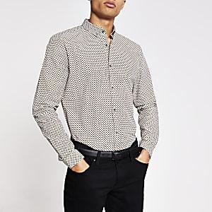 Grijsslim-fit overhemd met print en lange mouwen