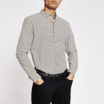 Grey geo print long sleeve slim fit shirt