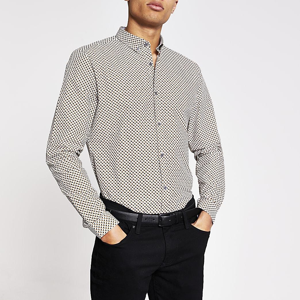 Grey geo print long sleeve slim fit shirt