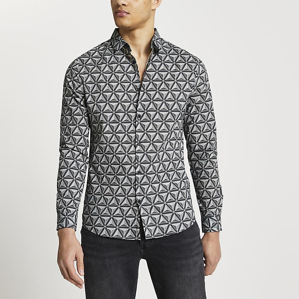 Grey Geometric print muscle fit shirt