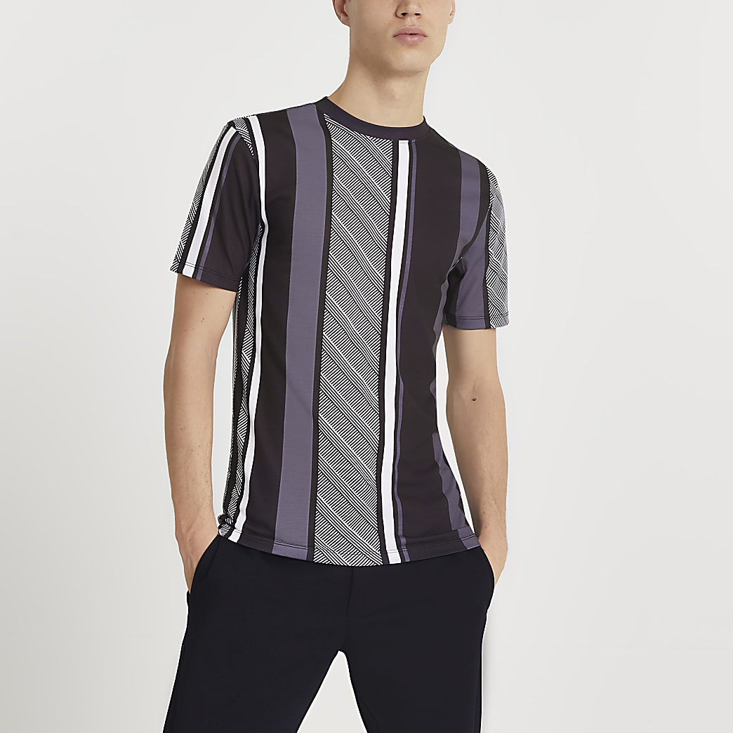 Grey geometric stripe muscle fit t-shirt