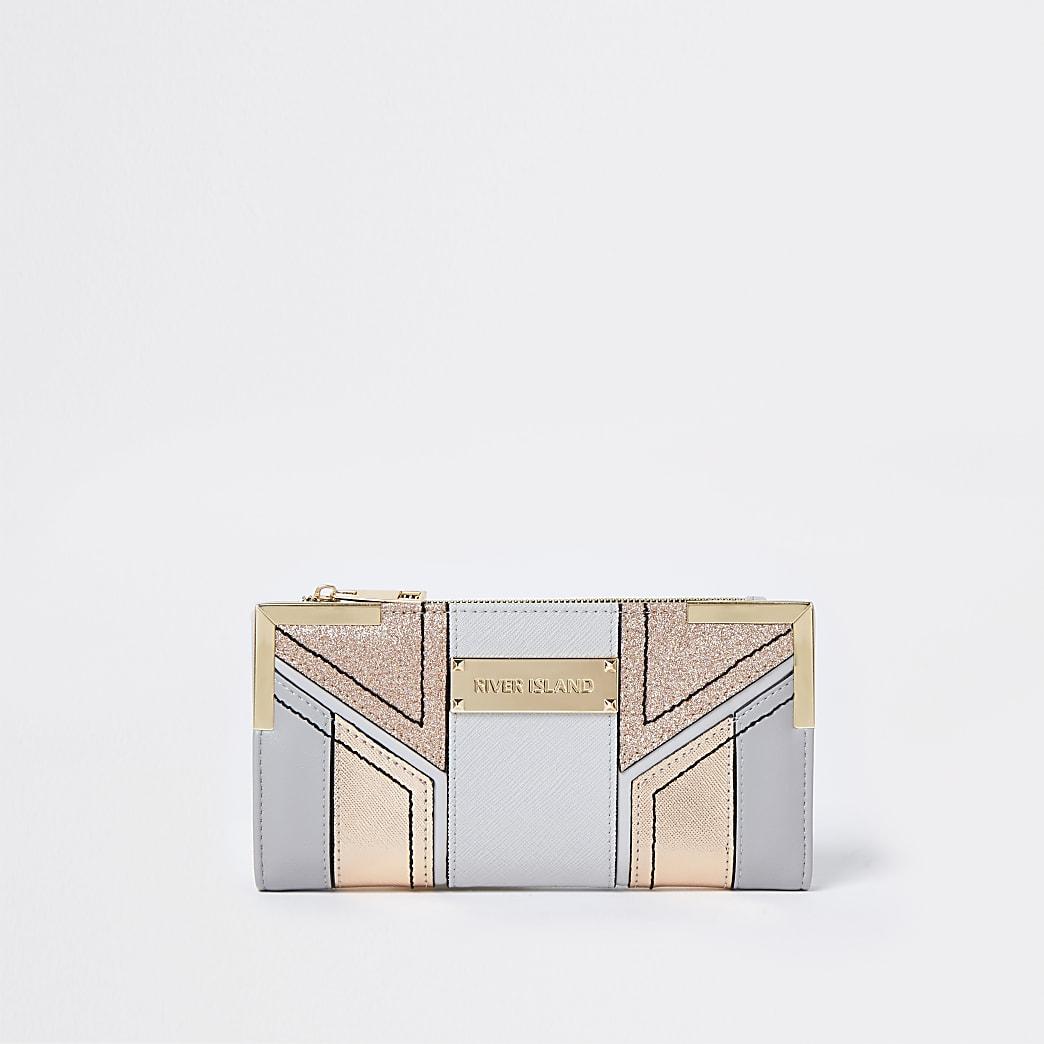 Grey glitter cut about fold out purse