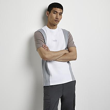 Grey graphic colour block slim fit t-shirt