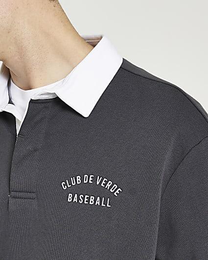 Grey graphic long sleeve polo shirt