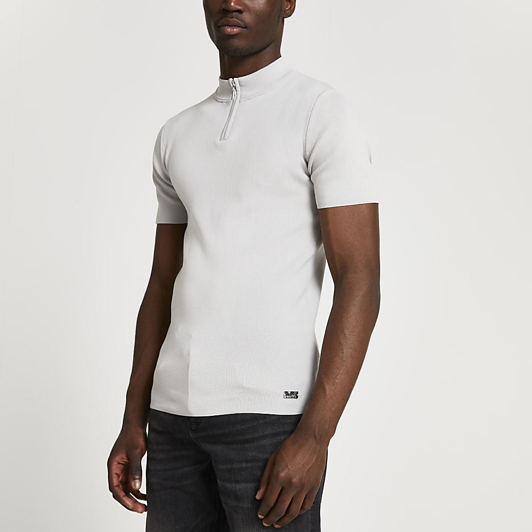 Grey half knit premium knit t-shirt