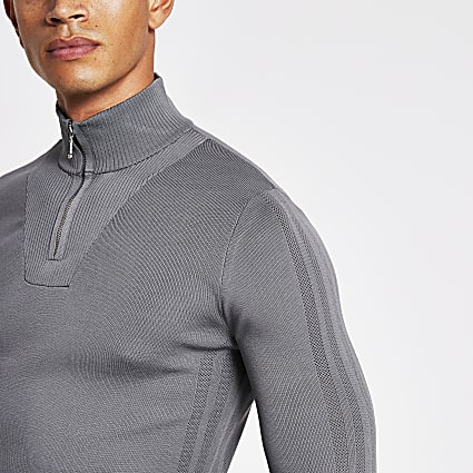Grey half zip muscle fit knitted jumper