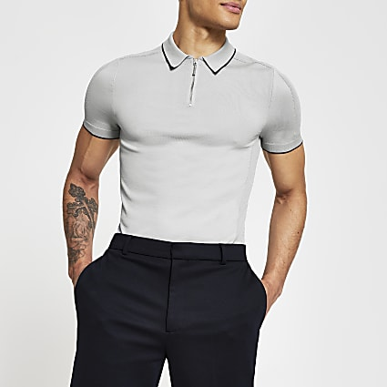 Grey half zip muscle fit knitted polo shirt