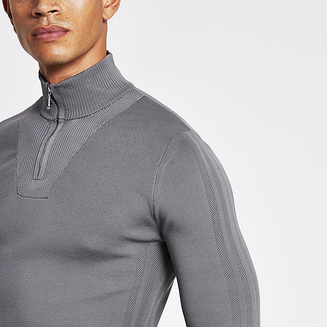 Grey half zip slim-fit knitted jumper