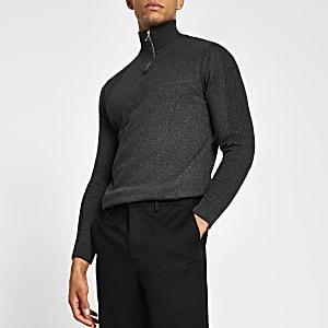 Grijze gebreide slim-fit trui met halve ritssluiting