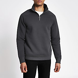Grey half zip slim fit sweatshirt