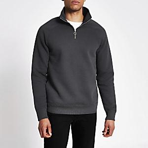Graues Slim Fit Sweatshirt mit Kurzreißverschluss