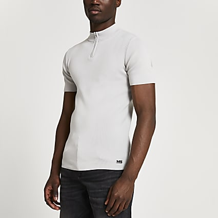 Grey half zip smart knit t-shirt