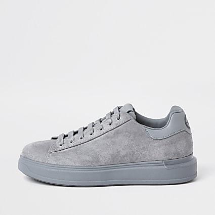 Grey heel clip faux suede trainers