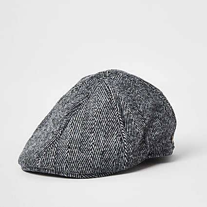 Grey herringbone check flat cap