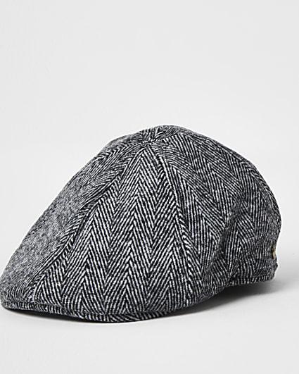 Grey herringbone check flat cap