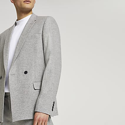 Grey herringbone double breasted suit jacket
