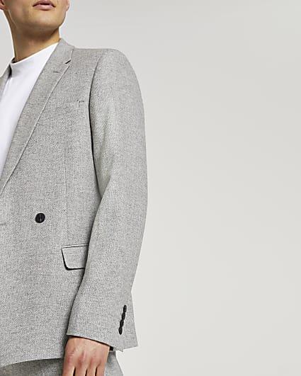 Grey herringbone double breasted suit jacket