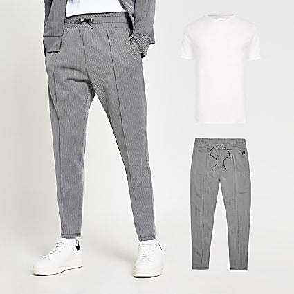 Grey herringbone joggers and t-shirt set