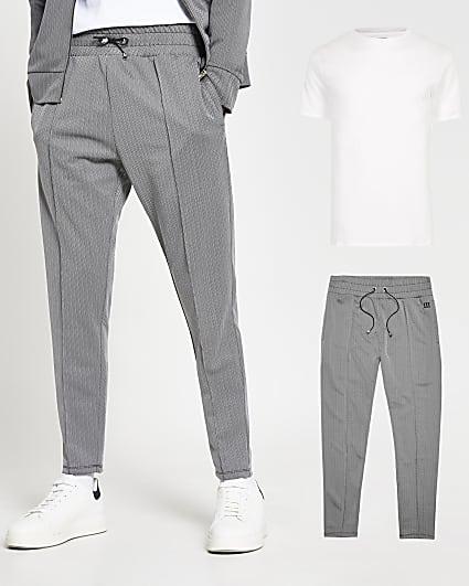 Grey herringbone joggers and t-shirt set