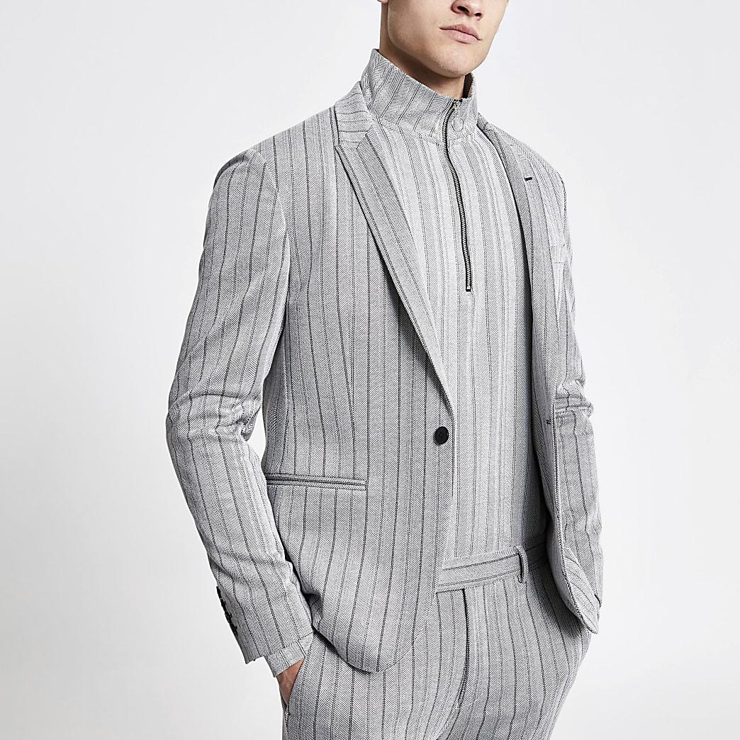 Veste de costume ajustée grise à chevrons