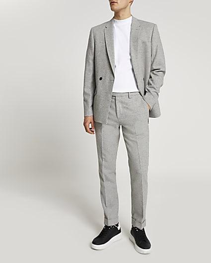 Grey herringbone skinny fit suit trousers