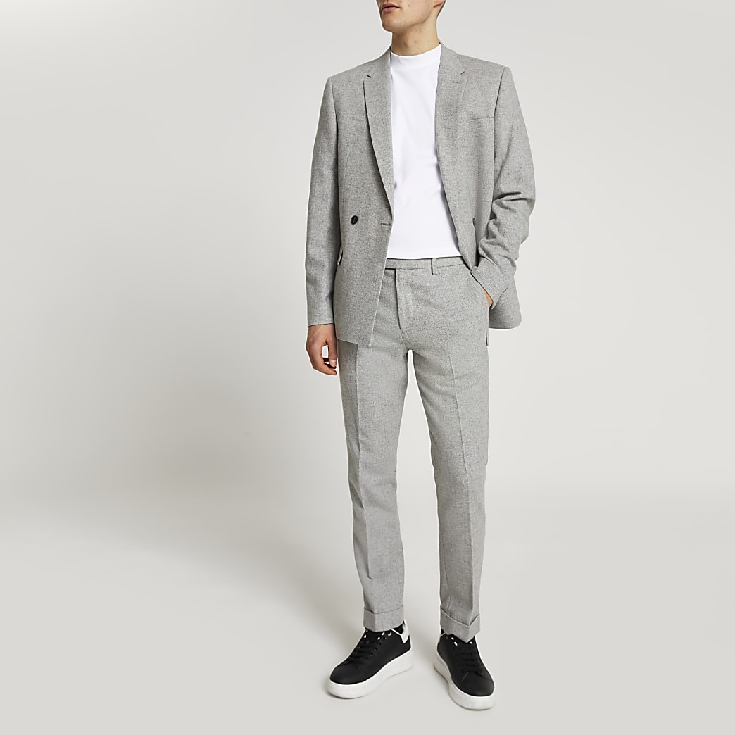 Grey herringbone skinny fit suit trousers