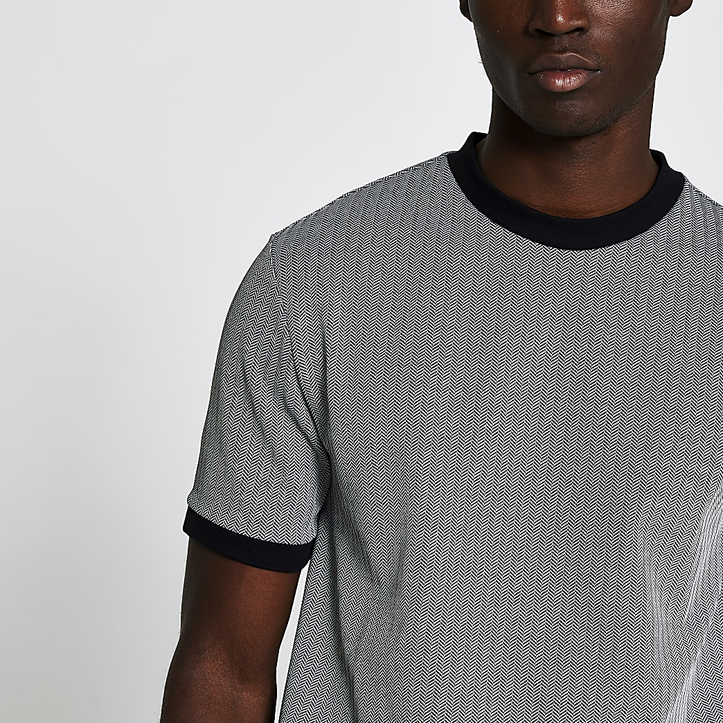Grey herringbone slim fit t-shirt