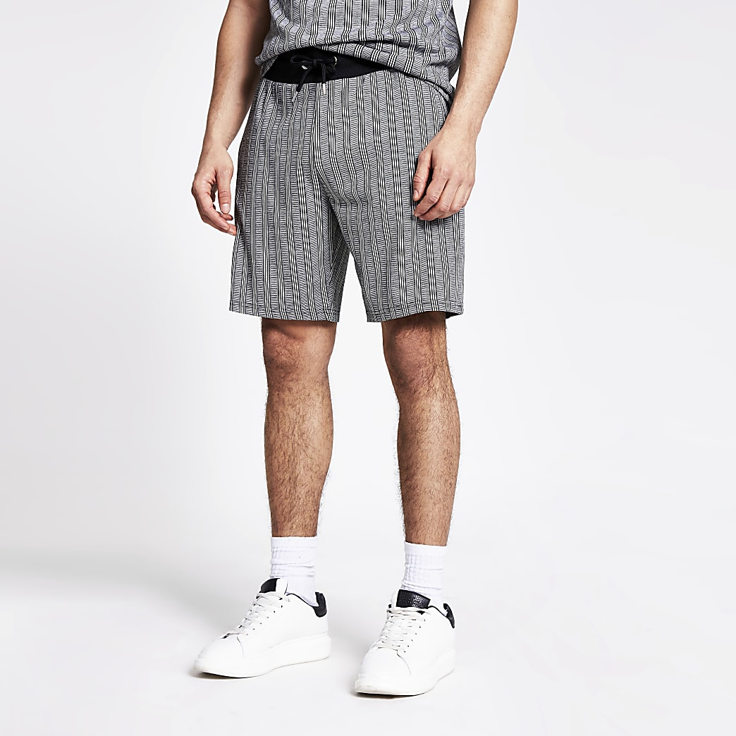 Grey herringbone stripe slim fit shorts