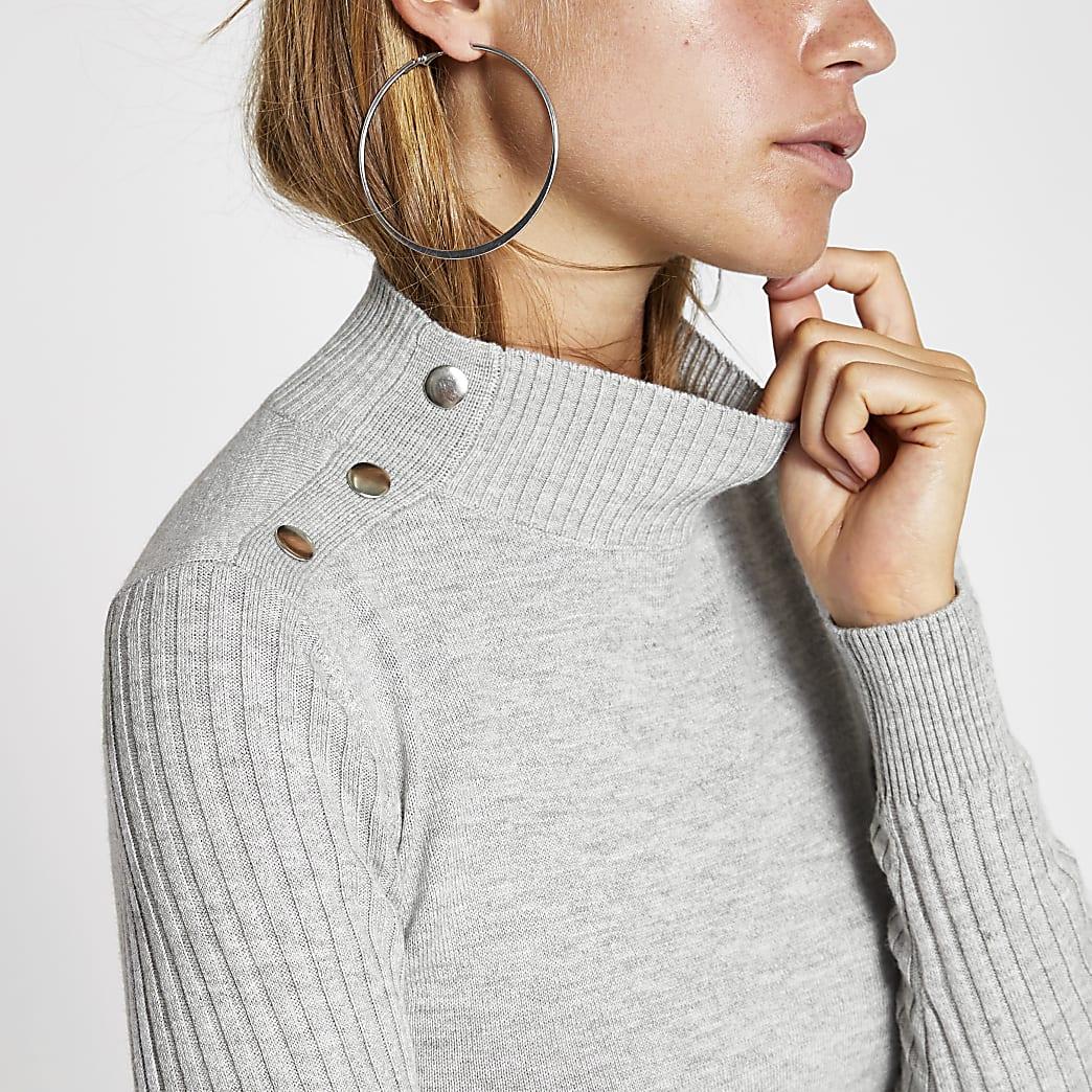 Grey high neck ribbed long sleeve top