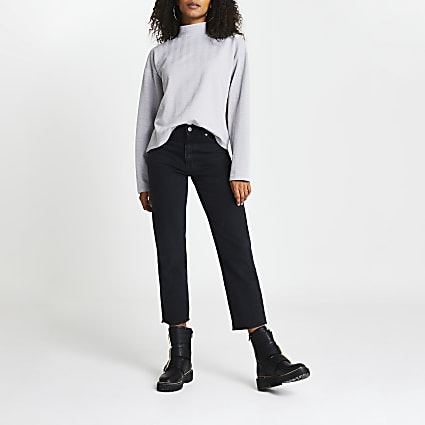 Grey high neck textured long sleeve top