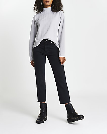 Grey high neck textured long sleeve top