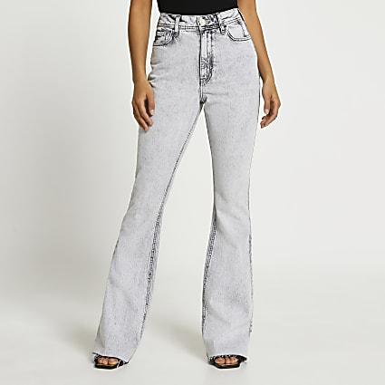 Grey high rise bum sculpt flared jeans