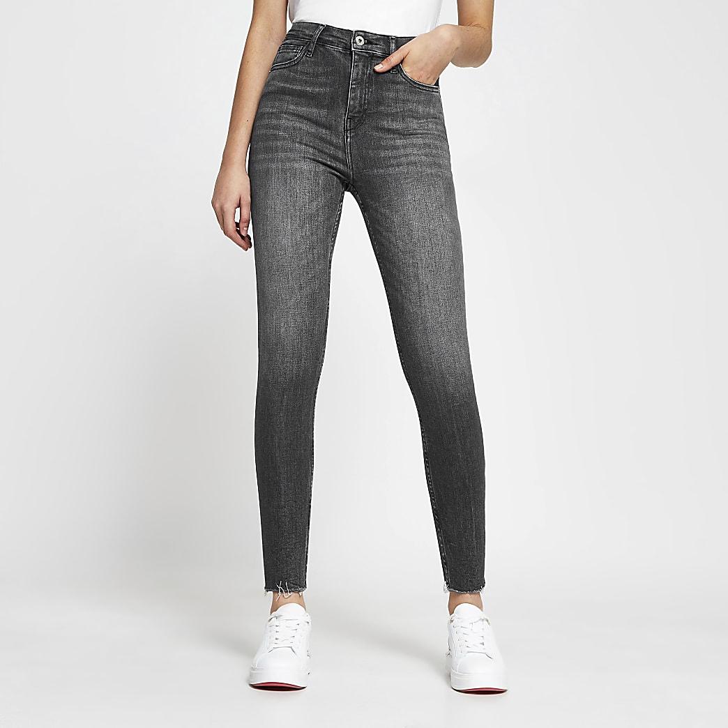 Grey high rise super skinny jeans