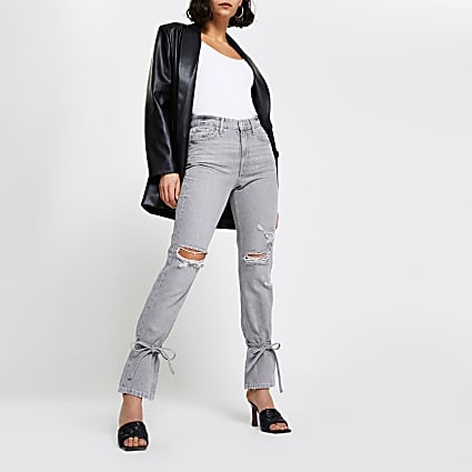 Grey high rise tie bottom jeans